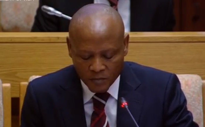 A screengrab of Abram Masango appearing before a parliamentary committee into state capture at Eskom.