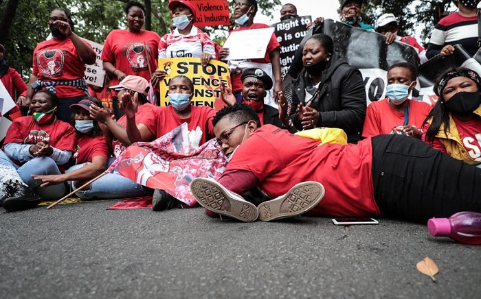 Cosatu members taking part in a socio-economic strike in Pretoria called by the country's trade union federations on 7 October 2020. Picture: Abigail Javier/EWN