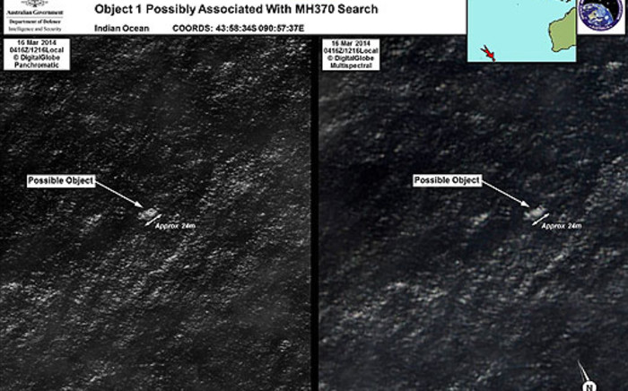 This combo of handout images taken by satellite image provider DigitalGlobe shows satellite images of objects in the Indian Ocean which may be from missing Malaysia Airlines flight MH370. Picture: AFP/Australian Defence via Australian Maritime Safety Authority.