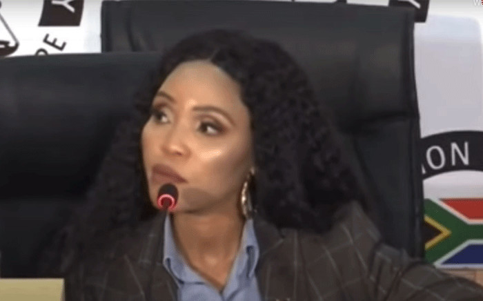 A screengrab of Norma Mngoma appearing at the state capture inquiry on 20 May 2021. Picture: SABC/YouTube.
