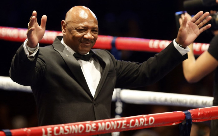 Ex-professional boxer Marvin Hagler of the US reacts to the crowd before the Gennady Golovkin of Kazakhtan versus Japan's Nobuhiro Ishida middleweight WBA boxing match, on 30 March 2013 in Monaco. Picture: AFP