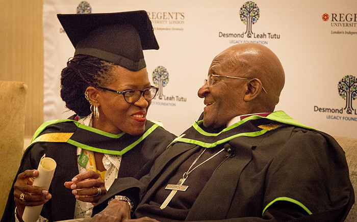 Archbishop Emeritus Desmond Tutu and his daughter Revered Canon Mpho Tutu van Furth attend a ceremony in which they were awarded honorary senior fellowships by Regent's University London in Cape Town on 3 May 2016. Picture: Aletta Harrison/EWN.