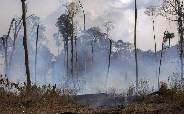 View of a burnt area after a fire in the Amazon rainforest near Novo Progresso, Para state, Brazil, on 25 August 2019 Brazil on Sunday deployed two C-130 Hercules aircraft to douse fires devouring parts of the Amazon rainforest, as hundreds of new blazes were ignited and a growing global outcry over the blazes sparks protests and threatens a huge trade deal. Picture: AFP
