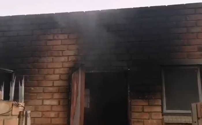 One of the houses that were burnt during the Klerksdorp violence. Picture: EWN.