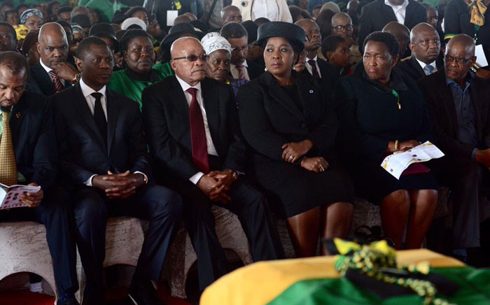 President Jacob Zuma attended a funeral service for ANC volunteers who died in a bus crash near Windburg in the Free State in April 2016. Picture: @MYANC via Twitter.
