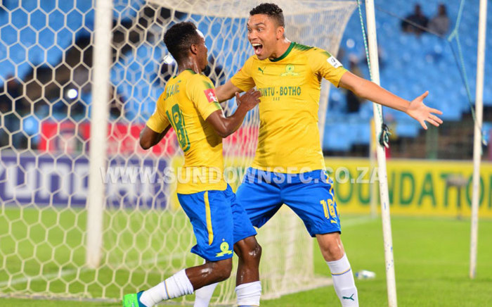 Mamelodi Sundowns players celebrate a goal. @Masandawana/Twitter