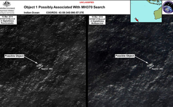 FILE: Satellite images of objects in the Indian Ocean which may be from missing Malaysia Airlines flight MH370 which disappeared en route to Beijing early on 8 March. Picture: AFP.