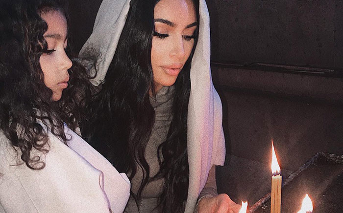 Kim Kardashian West and her daughter North pictured during their baptism at the Etchmiadzin Cathedral in Armenia. Picture: @kimkardashian/Twitter