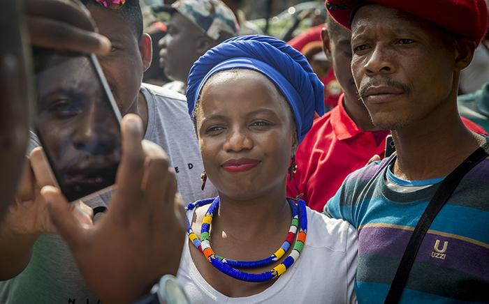 "FILE: DA spokesperson Phumzile van Damme seen with a protester at the ""Day of Action"" march against the leadership of President Jacob Zuma held in Pretoria on 12 April 2017. Picture: EWN"