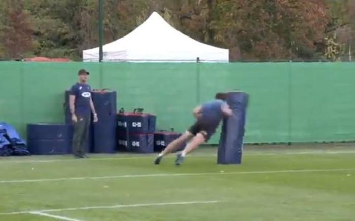 A screengrab of Springbok centre Andre Esterhuizen going through some tackling drills.