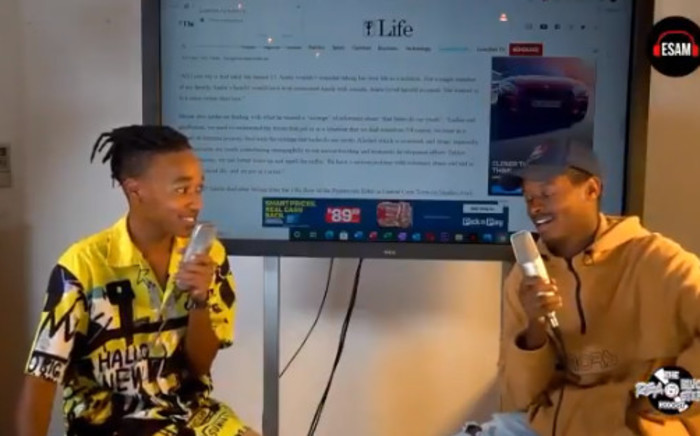 A screengrab of Rea Gopane and Blvck Steph on their podcast in a clip circulated on 9 May 2021. Picture: Screengrab/ Twitter.