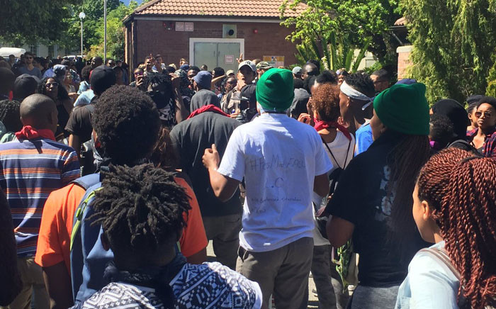 Stellenbosch University students during the Fees Must fall protests. Picture: Monique Mortlock/EWN.