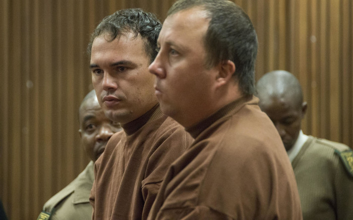 The coffin case duo Theo Jackson (R) and Willem Oosthuizen (L) appeared at the North Gauteng High Court on 9 November 2017 after being summoned by the judge who presided over their case. Picture: Ihsaan Haffejee/EWN