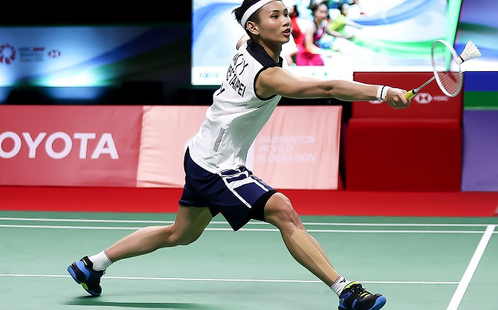 This handout from the Badminton Association of Thailand taken and released on January 16, 2021 shows Taiwan's Tai Tzu-ying hitting a shot against Denmark's Mia Blichfeldt during their women's singles semi-final match during the Thailand Open badminton tournament in Bangkok. Picture: AFP