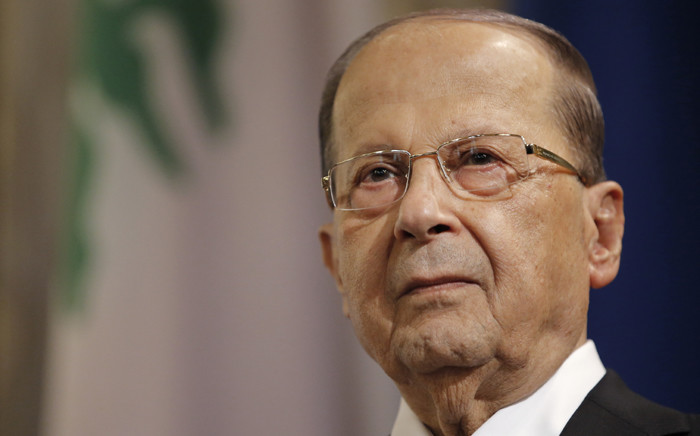 FILE: Lebanon's President Michel Aoun looks on during a state visit on 26 September 2017 at Hotel de Ville in Paris. Picture: AFP