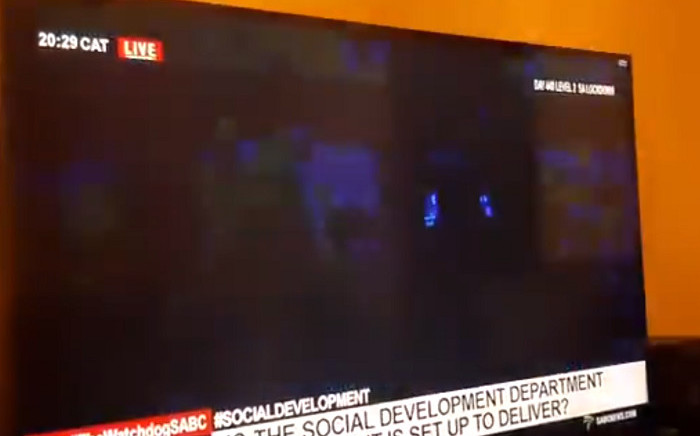 Social Development Minister Lindiwe Zulu had her power cut on Wednesday during a live interview. Picture: Twitter.