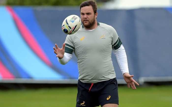FILE: Springbok prop Frans Malherbe during a team training session in southern England in September ahead of the 2015 Rugby World Cup. Picture: AFP