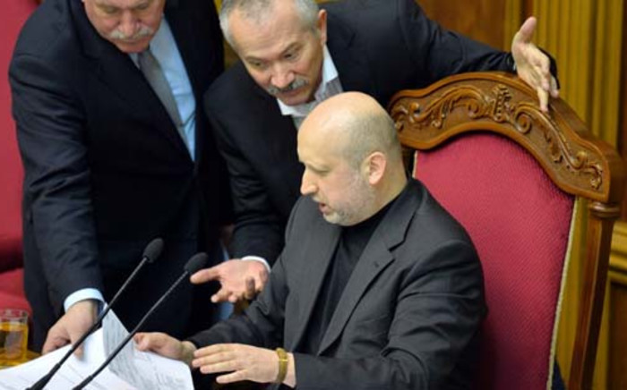 FILE:Oleksander Turchinov called for government forces to relaunch an offensive against pro-Russian rebels. Picture: AFP.