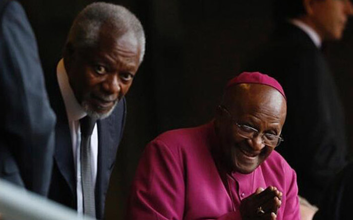 Former UN Secretary General, Kofi Annan and Archbishop Emeritus Desmond Tutu attended a Nelson Mandela memorial at FNB Stadium on 10 December 2013. PIcture: @KetyDC via twitter