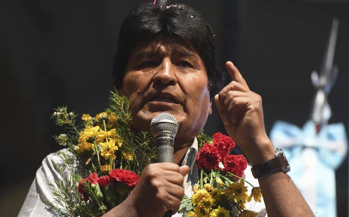 Bolivia's President Evo Morales speaks to members of the Bolivian community at the Bolivian consulate in Buenos Aires, Argentina, on 19 October 2018. Picture: AFP