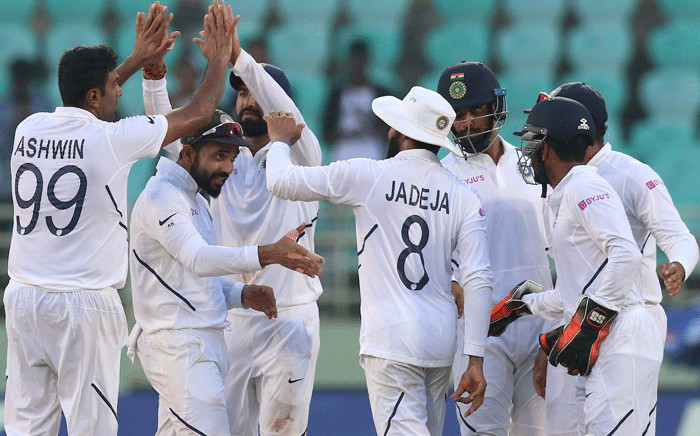 India players celebrate a wicket on day two of first Test against South Africa on 3 October 2019 in Visakhapatnam. Picture: @BCCI/Twitter