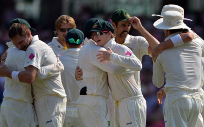 FILE: Australia's cricketers celebrate their 5-0 victory in the Ashes Test Cricket series against England in January. Picture: AFP.