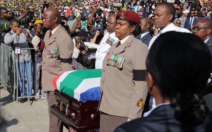 Winnie Madikizela-Mandela's coffin is carried into Orlando Stadium. Thomas Holder/EWN