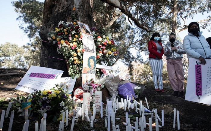 Family and friends came together to remember the late Tshegofatso Pule a year after she was killed. Picture: Boikhutso Ntsoko/EWN.