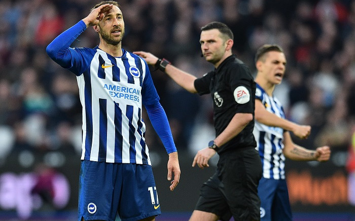 Brighton's English striker Glenn Murray celebrates scoring his team's third goal during the English Premier League football match between West Ham United and Brighton and Hove Albion at The London Stadium, in east London on 1 February 2020. Picture: AFP