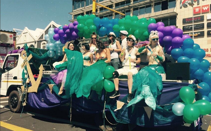 One of the floats taking part in Gay Pride with mermaids and men in sailor hats. Picture: Monique Mortlock/EWN