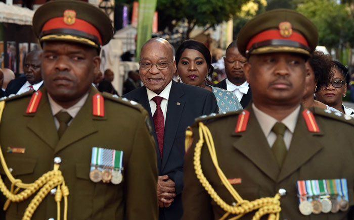 President Jacob Zuma, Bongi Zuma, Parliament Speaker Baleka Mbete and NCOP Chairperson Thandi Modise arrive at Parliament for the 2016 State of the Nation Address. Picture: GCIS.