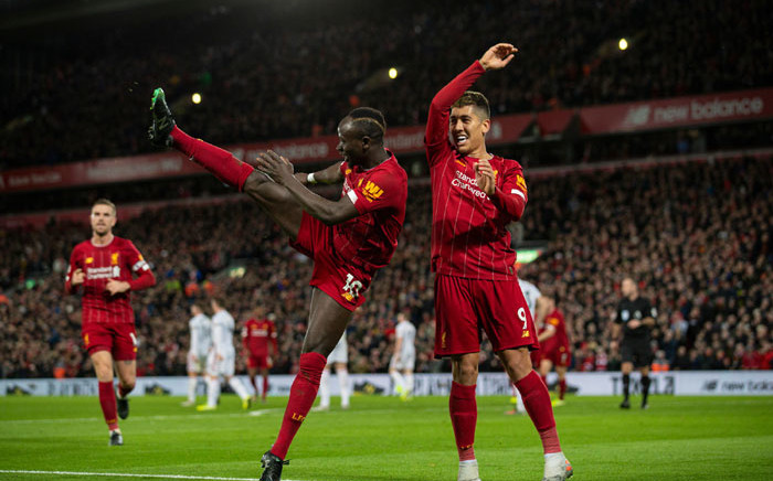 Liverpool's Sadio mane and Roberto Firmino celebrate a goal during their English Premier League match against Sheffield United at Anfield, Liverpool on 2 January 2020. Picture: @LFC/Twitter