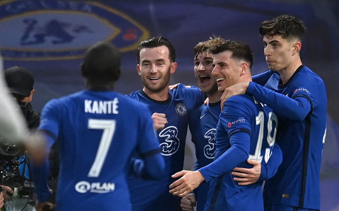 Chelsea striker Timo Werner (3R) celebrates scoring the opening goal during the UEFA Champions League second leg semifinal football match between Chelsea and Real Madrid at Stamford Bridge in London on 5 May 2021. Picture: Glyn Kirk/AFP