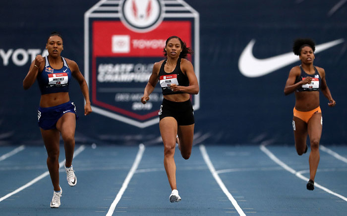Allyson Felix (centre) competes in the Women's 400 Meter heats during the 2019 USATF Outdoor Championships at Drake Stadium on 25 July 2019 in Des Moines, Iowa. Picture: AFP