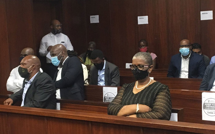 Former eThekwini mayor, Zandile Gumede (front right) and some of her co-accused appear at the Durban Commercial Crimes Court in her corruption case on 10 December 2020. Picture: Nkosikhona Duma/Eyewitness News.