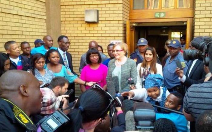 DA leader Helen Zille addresses the media outside the North Gauteng High Court on 4 September, 2014. Picture: Twitter via DA_News.