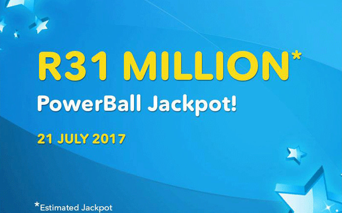 The estimated jackpot for the PowerBall draw on 21 July 2017. Picture: @sa_lottery