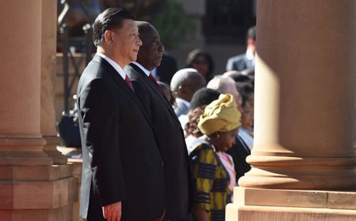 China's President Xi Jinping and President Cyril Ramaphosa at the Union Buildings in Pretoria on 24 July 2018. Picture: @PresidencyZA/Twitter