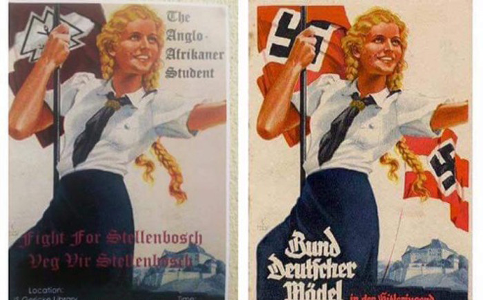 The poster, left, was similar to that portraying the Nazi-era League of German Girls, right. Picture: Twitter/@TheodeJager.