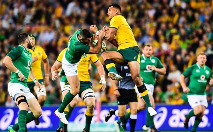 Australia's Israel Folau in action during their Brisbane series opener against Ireland. Picture: @qantaswallabies/Twitter