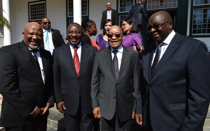President Jacob Zuma flanked by Deputy President Cyril Ramaphosa, Finance Minister Nhlanhla Nene and Deputy Minister of Finance Mcebisi Jonas outside Tuynhuys after the Budget Speech on 25 February 2015. Picture: GCIS.