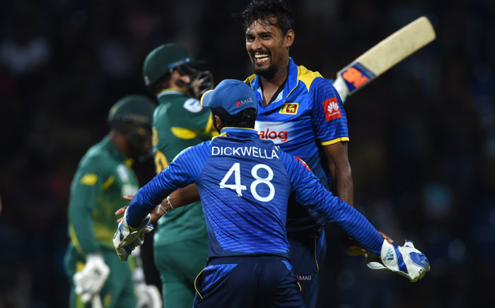 Sri Lanka's Suranga Lakmal (R) celebrates after dismissing South Africa's David Miller during the fourth one-day international (ODI) cricket match between Sri Lanka and South Africa at the Pallekele International Cricket Stadium in Pallekele on 8 August, 2018. Picture: AFP