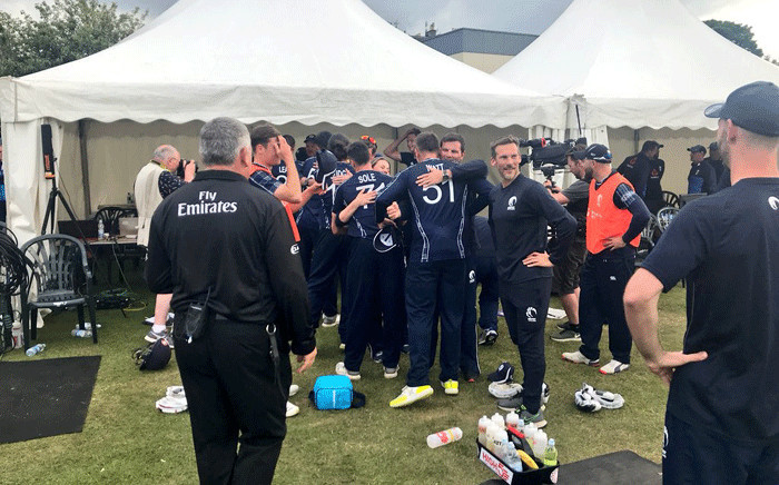 Members of Cricket Scotland celebrate after their historic win over England. Picture: @CricketScotland/Twitter