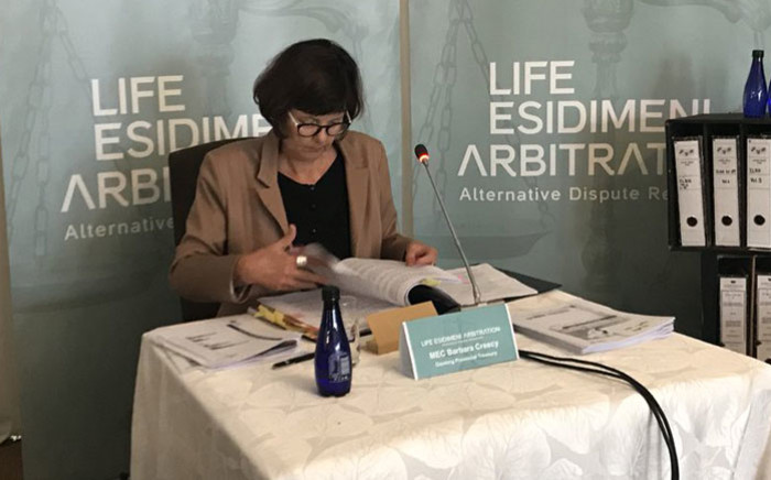 Gauteng Finance MEC Barbara Creecy testifies at the Esidimeni arbitration hearing in Johannesburg on 30 January 2018. Picture: Masego Rahlaga/EWN