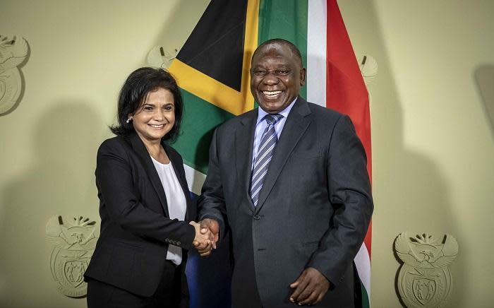 President Cyril Ramaphosa announces Shamila Batohi as the new NPA head at the Union Buildings in Pretoria on 4 December 2018. Picture: Thomas Holder/EWN