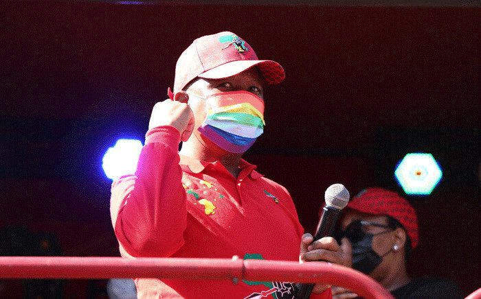 EFF leader Julius Malema addressed thousands of party members following a march to SAHPRA's head office in Tshwane on 25 June 2021 to demand the government procure China's Sinovac and Russia's Sputnik V vaccines. Picture: @EFFSouthAfrica/Twitter.