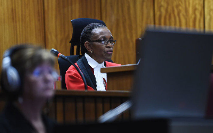 Judge Thokozile Masipa delivers her judgement in the Oscar Pistorius murder trial at the High Court in Pretoria on Thursday, 11 September 2014. Picture: Pool.
