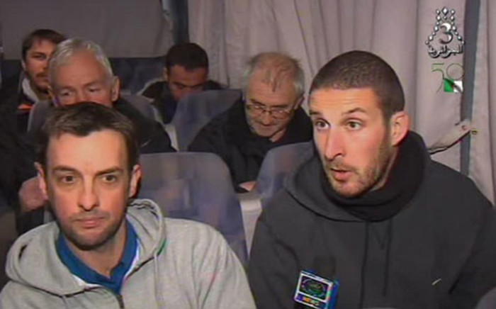 Freed foreign hostages giving witness accounts after fleeing their Islamist captors on 18 January 2013, following a deadly commando raid by Algerian forces at a desert gas field in In Amenas. Picture: AFP/ Al-Jazairia 3 TV