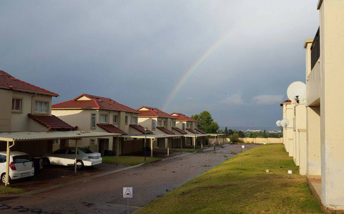 An afternoon thunderstorm hit Gauteng on 9 October 2017, bringing with it hail and strong winds. After the storm, a rainbow was seen. Picture: Supplied