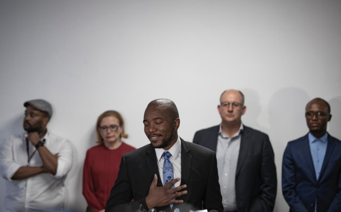 Mmusi Maimane with other leaders of the Democratic Alliance during his resignation as party leader on 23 October 2019. Picture: Sethembiso Zulu.